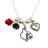 Louisville Cardinals NCAA Austrian Crystal Silver Necklace