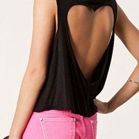 Heart Cutout Sexy Pure Short Vest