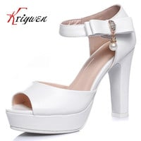Big size 33-44 Ankle strap white pink sweet girl's sandals peep toe cover heel solid high heels party bridals lady wedding shoes