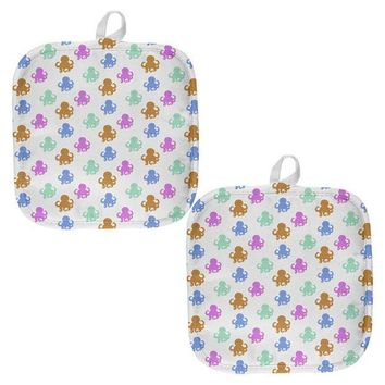 Chenier Cute Octopus Pattern All Over Pot Holder (Set of 2)