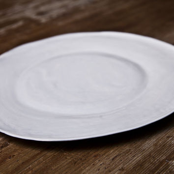 Nuvola - White Ceramic Dinner Plate