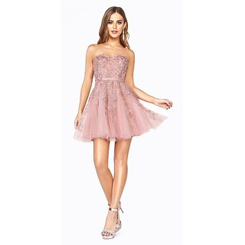 Appliqued Blush Homecoming Short Dress Strapless