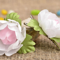 Handmade small tender pink flower hair clips made of fabric set of 2 pieces