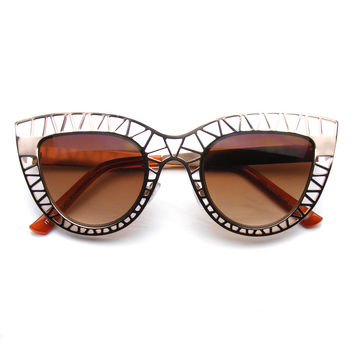 Womens Indie Cat Eye Sunglasses Trendy Fashion Metal Cut Out