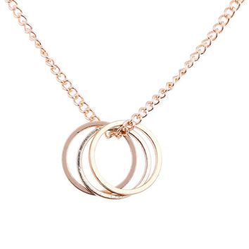 Gold Color Silver Three Circle Pendant Necklace