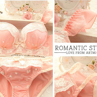 Free shipping! Japanese sweet lovely lace sexy underwear bra set thickening 110224