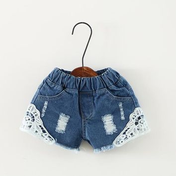 Hot Shorts Summer Girls Lace  Kids Girls Cute Hole Jeans  Short Pants Pocket Denim  Baby Jeans Children Clothes 2-12YAT_43_3