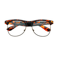 Retro Half Frame Clear Lens Glasses Tortoise W182