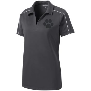 Paw Print Ladies Micropique Sport-Wick Piped Polo