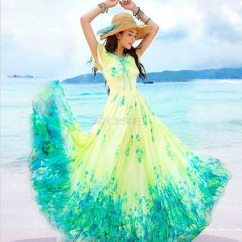 Women Summer Boho Long Maxi Evening Party Dress Beach Dresses Chiffon Dress Sexy SV005590|26601 = 1745480644