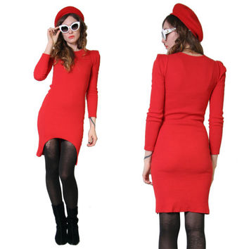 Lady In Red - 90s Bodycon Dress - Stretchy Ribbed Long Sleeve Dress - Sexy Dress - 90s Clothing - Avant Garde - Size Small - Grunge Goth