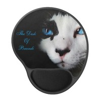 Mysterious Blue Eyed Tuxedo Cat Mouse Pad Gel Mouse Pad