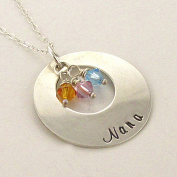 Personalized Sterling Silver Nana Necklace, Swarovski Birthstone Charms, Mothers Day Gift, 16 - 20 inch, Present for Nana, Grandma, Gigi