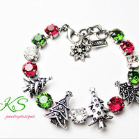 Christmas Sparkle, Swarovski 8MM Bracelet, Antique Silver, Embellished, Holiday Jewelry, Green, Red, DKSJewelrydesigns, FREE SHIPPING