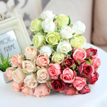 FarenHot Living 12pcs Artificial Rose Bouquet, Decorative Silk Flowers Bride Bouquets. For multiple use.