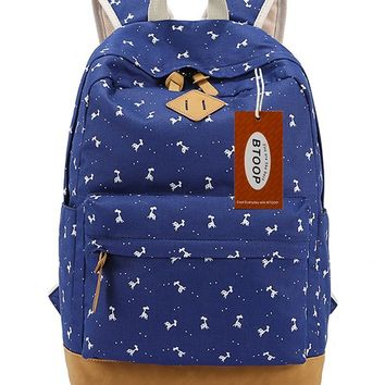 BTOOP Canvas Backpacks for Girls Fashion School Student Bookbags Super Comfortable and Soft with Laptop Compartment (Dark Blue)