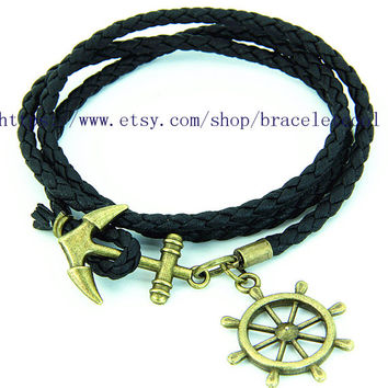 Black Leather Woven Bracelet Simple Bracelet Women Wrap Bracelet, Anchor Bracelet MT4