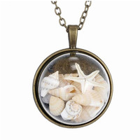 BEACH GIRL Sea Shells In Glass Locket Pendant Necklace