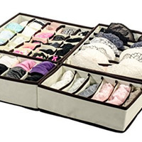Collapsible storage boxes great for bra underwear drawer divider closet nursery shelf organization, set of 4, beige, Black Label Goods