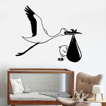 Vinyl Wall Decal Stork Baby Bird Nursery Decor For Children's Rooms Stickers Unique Gift (1083ig)