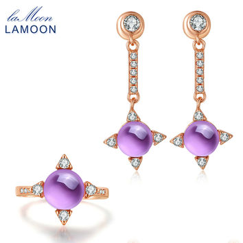 LAMOON Cross star 2.2ct Natrual Amethyst 925 sterling-silver-jewelry Rose Gold Jewelry Set Earring Ring S925 For Women V009-4
