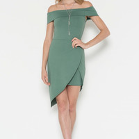 Micro Fiber Jersey Off Shoulder Unballance Dress