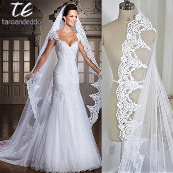 White/Ivory 3M Cathedral Length Lace Edge Bridal Head Veil With Comb Long Wedding Veil Accessories velos de novia