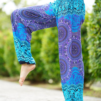 Hippie Pants / Yoga pants / Harem Pants / Boho Pants Peacock Design in Blue