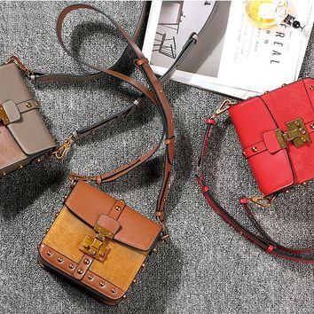 Small square Leather handbags Box Crossbody