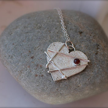 Mended Heart January birthstone Sterling Silver by KittyStoykovich