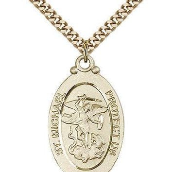 """Saint Michael The Archangel Medal For Men - Gold Filled Necklace On 24"""" Chain... 617759798333"""