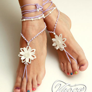 Lotus Wedding Barefoot Sandals. White Lilac Bellydance Shoes