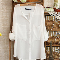 Simple Design White Sun Protection Clothing$37.00