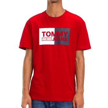 TOMMY JEANS new tide brand cotton letter printed round neck half sleeve t-shirt red