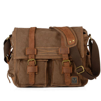 Deep Coffee Canvas Leather Camera Bag Leisure Shoulder Bag Messenger Bag DSLR Camera Bag 2138DL