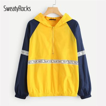 SweatyRocks Letter Print Raglan Sleeve Hoodie Jacket Multicolor Sporting Colorblock Coat Women Summer Autumn Oversized Outwear
