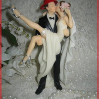 Fireman Firefighter Sexy Wedding kissing cake topper humorous funny