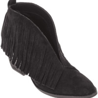 Women's Black Fringe Lambert Booties