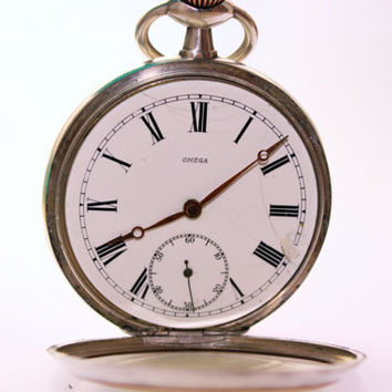 Vintage Silver Omega Pocket Watch Gents Collection Roman Numerals