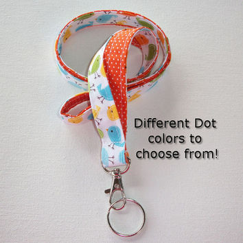 Lanyard  ID Badge Holder - Lobster clasp and key ring - design your own - Urban birds with orange pin dots -  two toned double sided