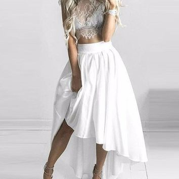Two Piece White Prom Dress Lace Top High Low White Skirt