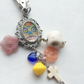 Fancy dia de los Muertos purse charm gothic charm hearts and flowers sugar skulls