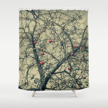 Red Apples in Empty Garden Shower Curtain by Cinema4design | Society6