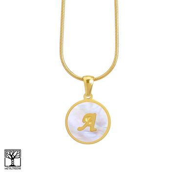 "Jewelry Kay style Women's Stainless Steel Gold A Initial Letter Medallion 16"" Chain Necklace"