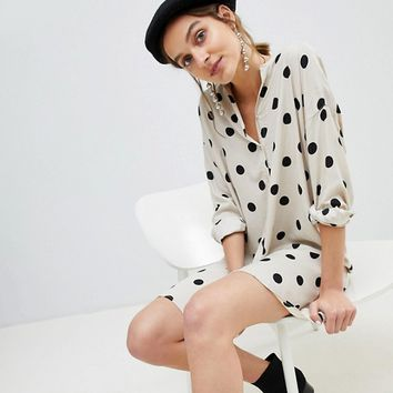 Stradivarius Polka Dot Shirt Dress at asos.com
