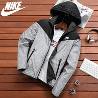 """NIKE""Casual Multicolor Zip Long Sleeve Sweatshirt Cardigan Jacket Coat"