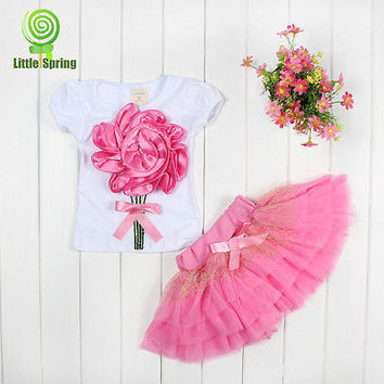 Summer Baby Kids Girls Clothes Sets Mini Skirts Princess Pageant Flower Bow Tulle  Baby Party Tutu New Pink 2 3 4 5 6 Years