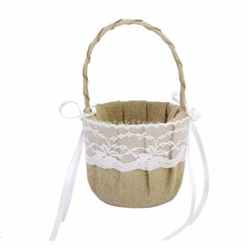 Vintage Burlap Jute Lace Bow Rustic Wedding Flower Girl Basket