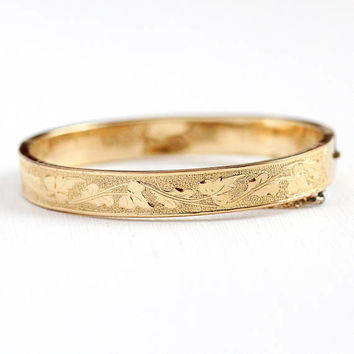 Antique Vine Bangle - Rosy Yellow Gold Filled Hinged Ivy Leaf Bracelet - Vintage Victorian 1890s Symbolic Eternity Leaves Stacking Jewelry