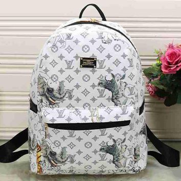 Lv Louis Vuitton Cute Pattern Leather Travel Bag Backpack